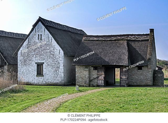 Reconstructed 15th century smokehouse of medieval fishing village Walraversijde, open-air museum at Raversijde, West Flanders, Belgium