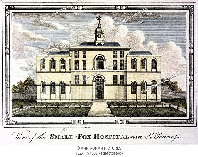 Smallpox hospital, St Pancras, London, c1800. Fever (isolation) hospitals for highly infectious diseases were built outside cities