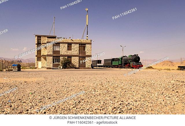 This historic train at Wadi Rum station in Jordan is used today only for tourist purposes. But on the tracks at the edge of the desert also trains with...