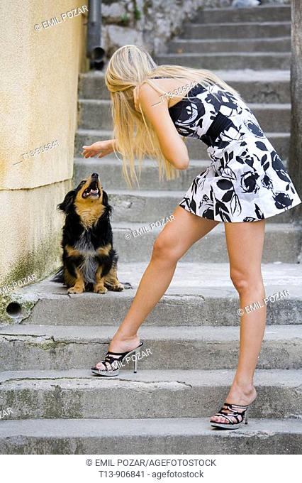Young woman and cute dog
