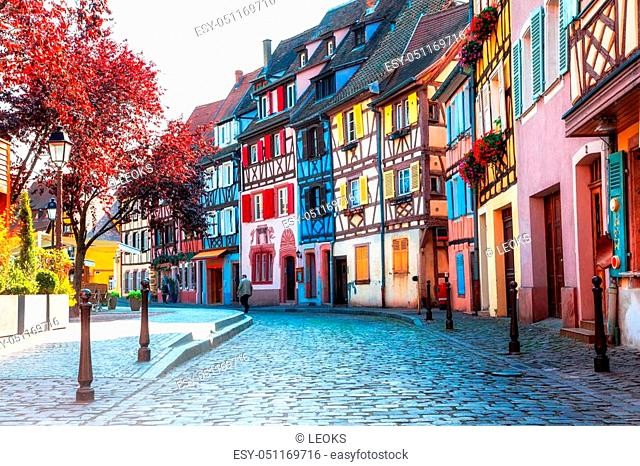Traditional multicolored houses in Colmar town, France