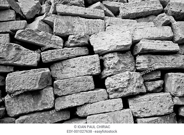 Gray pile of bricks