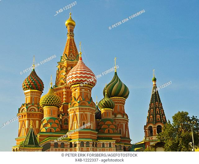 Sobor Vasilia Blazhennogo the St Basil's Cathedral at Krasnaya Ploshchad the Red Square central Moscow, Russia Europe