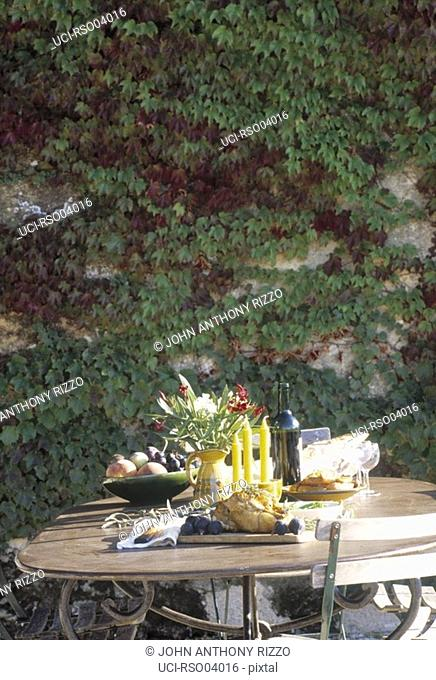 Table set with food outdoors