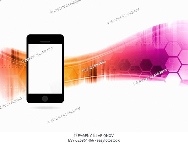 Technology vector waves abstract background with mobile phone