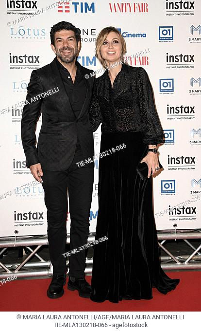 Pierfrancesco Favino with wife Anna Ferzetti during the red carpet of film A casa tutti bene, Rome, ITALY-12-02-2018