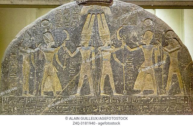 Egypt, Cairo, Egyptian Museum, upper part of the stele of Merenptah, famous because it shows the first mention of Israel