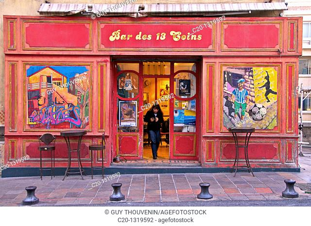 Typical ancient café, which served as model for the Mistral Bar in famous TV series 'Plus Belle La Vie'. Le Panier quarter, oldest spot in Marseille