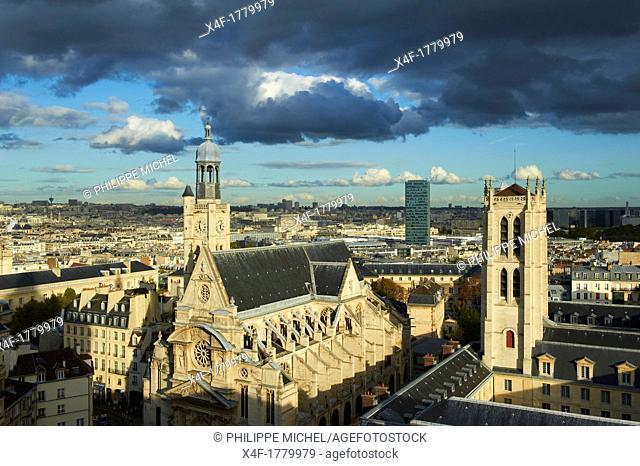 France, Paris, Quartier Latin, Clovis Tower of Henri 4 school and Saint Etienne du Mont Church