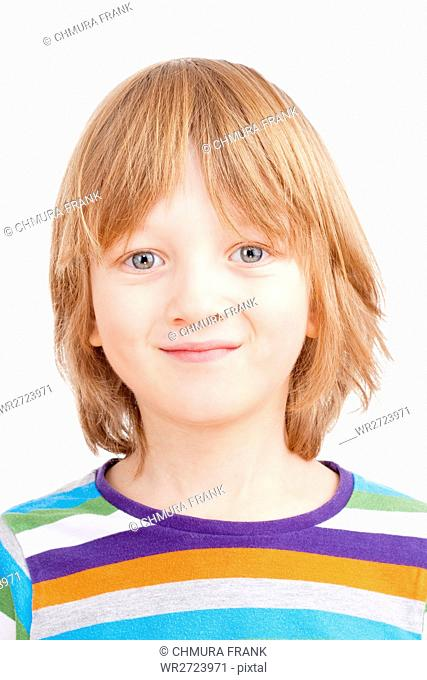 Portrait of a Boy with Blond Hair in Colorful Shirt - Isolated on White
