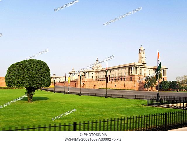 Facade of a government building, Rashtrapati Bhavan, New Delhi, India