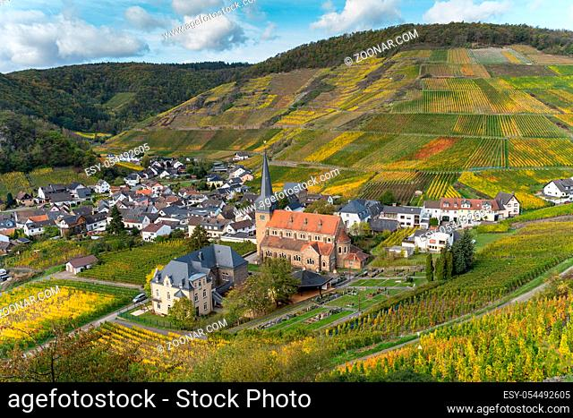 Hiking on the red wine trail in the Ahr valley with sunshine in autumn