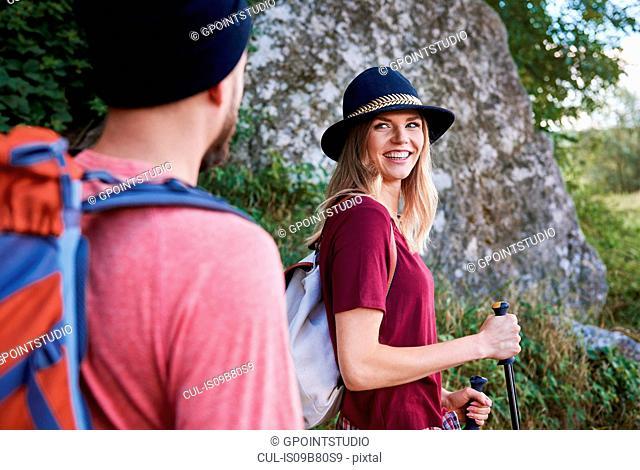 Couple hiking, smiling, Krakow, Malopolskie, Poland, Europe