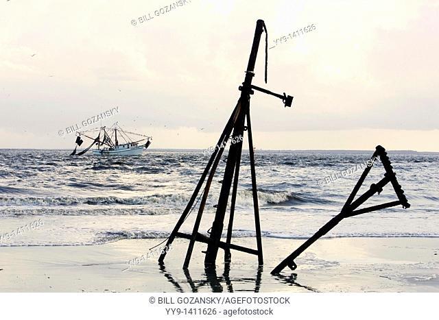 Mast of sunken ship at Jekyll Point - Jekyll Island, Georgia USA