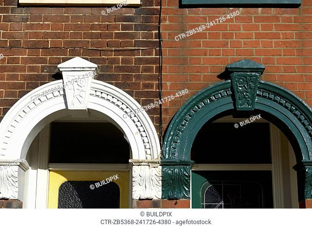 Front door arch detail on Edwardian terraces, Ipswich, UK