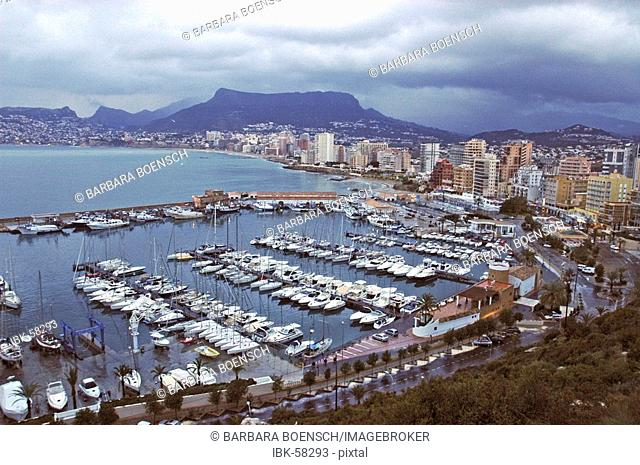 Calpe with marina in the evening light, Calpe, Costa Blanca, Spain