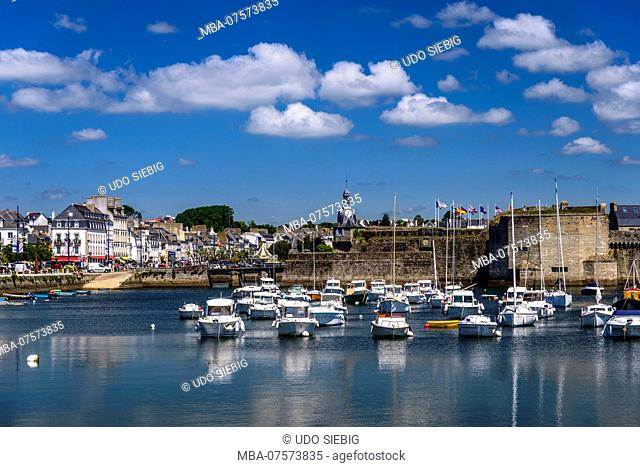 France, Brittany, Finistère Department, Concarneau, marina with Ville Close