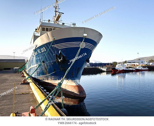 Fishing Trawler docked in Akureyri Harbor, Akueryri, Iceland