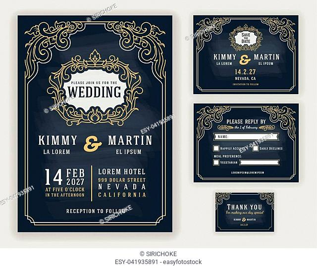 Graceful vintage and luxurious wedding invitation on chalkboard background. Vector illustration