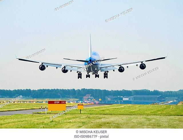 Airplane landing, Schiphol, North Holland, Netherlands, Europe