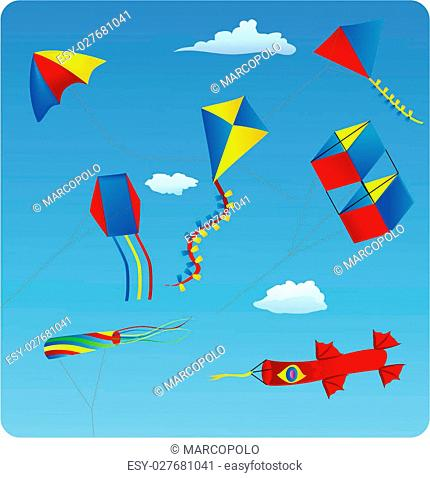 illustration of various kites in the blue sky