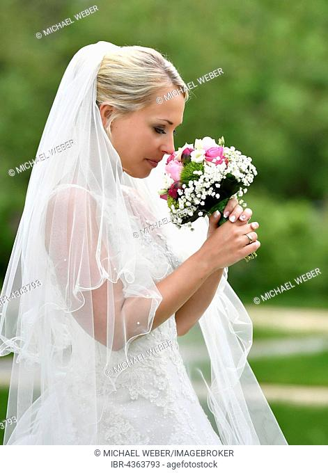 Bride in wedding dress with bridal bouquet and veil, Germany