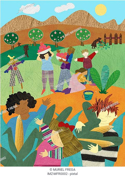 An illustration of people harvesting food