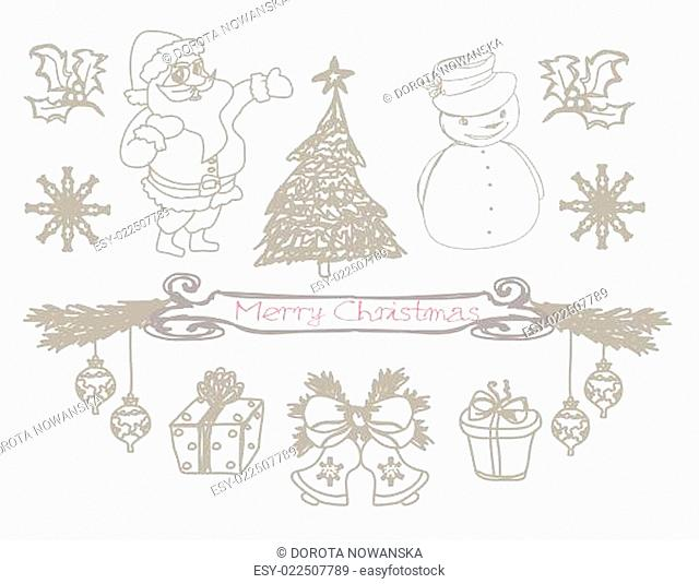 hand drawn christmas doodles