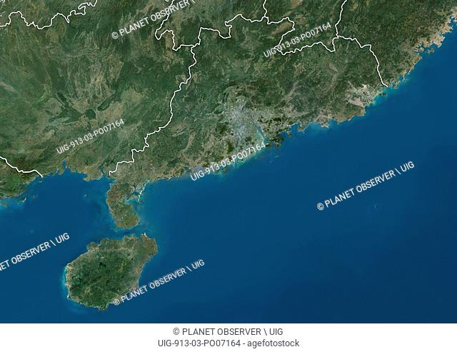 Satellite view of Guangdong and Hainan Provinces (with country boundaries). This image was compiled from data acquired by Landsat satellites