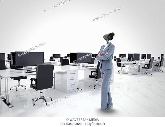 Businesswoman with CCTV head at office