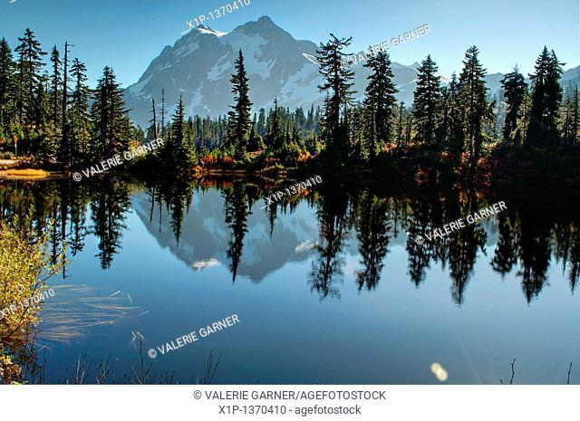 This landscape photo is of Picture Lake at Heather Meadows on Mt  Baker Washington in autumn  Breath taking mountain is reflected off the water of the lake and...
