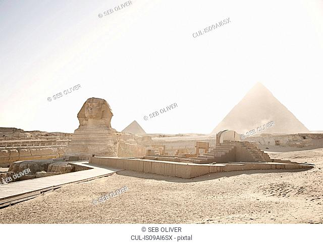 View of the great pyramids and sphinx of Giza, Egypt, North Africa