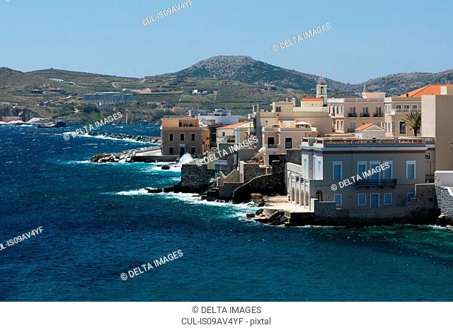 Elevated view of sea and Ermoupoli, Syros, Cyclades Islands, Aegean sea, Greece