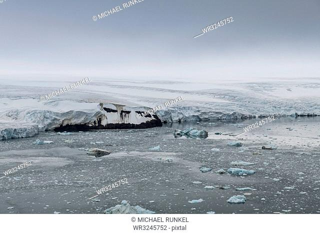 Aerial of the massive glacier of Alexandra Land, Franz Josef Land archipelago, Arkhangelsk Oblast, Arctic, Russia, Europe
