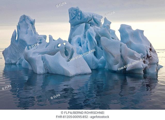 Iceberg drifting at sea, Arctic Sea, Spitsbergen, Svalbard, august