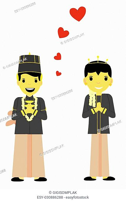 vector One Bride Couple - Central Java