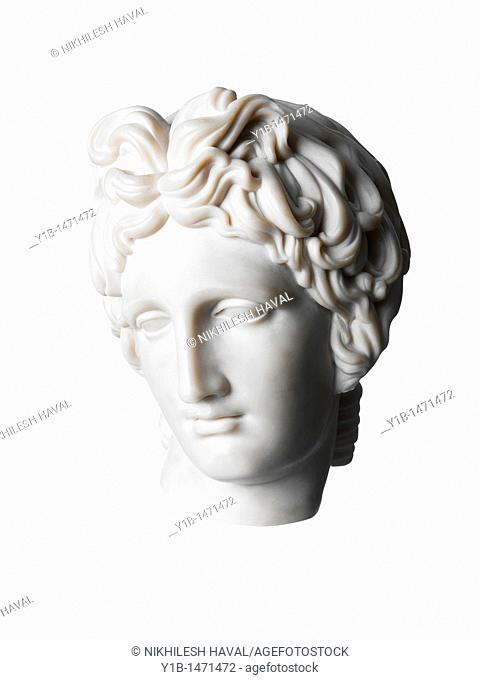 Roman womans head classical marble sculpture