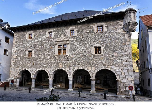 Historical public building in Sarvise. Huesca. Aragon. Spain. Europe