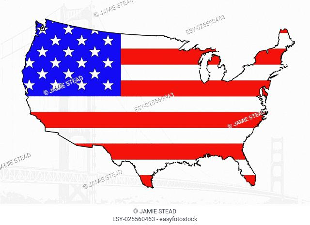 Map of the USA with flag and bridge