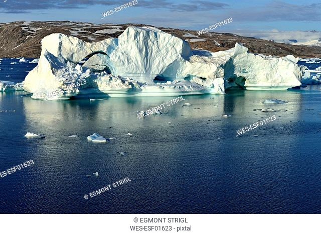 Greenland, East Greenland, Johan Petersens Fjord, Iceberg drifting