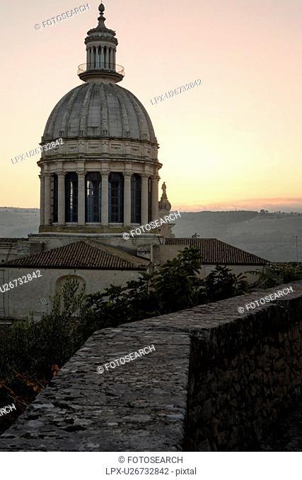 Duomo cupola in Ragusa Ibla at sunrise, Sicily, Italy