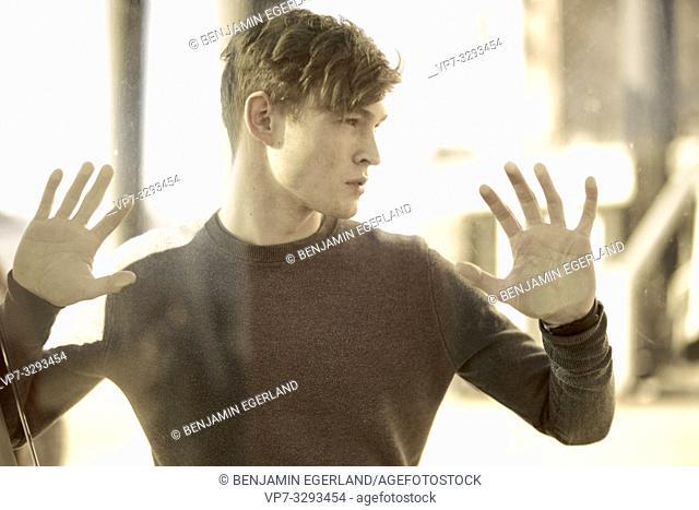 young model man behind glass window, in Hamburg, Germany