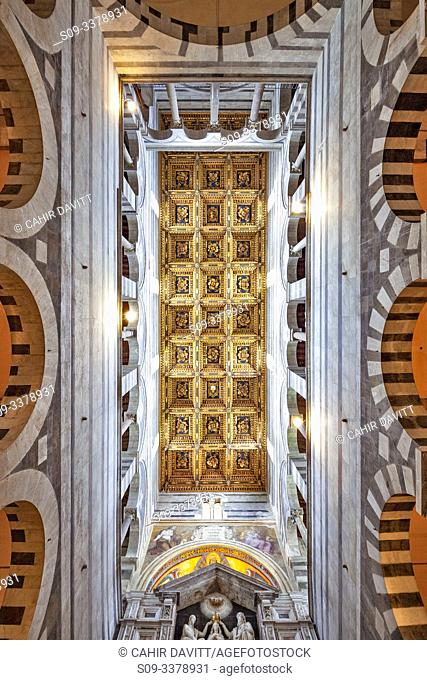 Architectural ceiling detail above the nave of Pisa Cathedral, Pisa, Tuscany, Italy