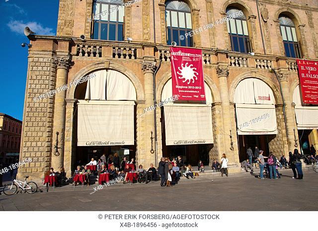 Cafe outside Palazzo del Podestà at Piazza Maggiore square central Bologna city Emilia-Romagna region northern Italy Europe