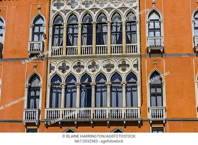 Ornate exterior of a building along the Grand Canal, Venice, Italy
