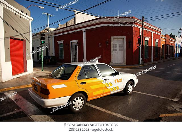 Taxi at the street in town center, Merida, Yucatan Province, Mexico, Central America