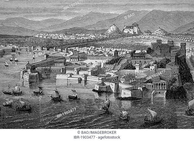Athens, Greece, historical woodcut, circa 1880