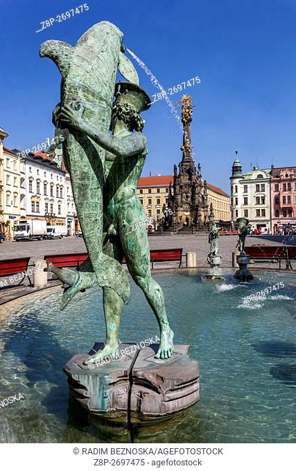 Arion Fountain, Main Square Horni namesti, Olomouc Region Hana, South Moravia, Czech Republic