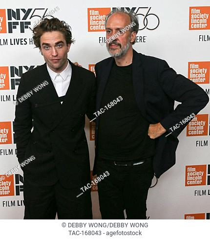 """NEW YORK - OCT 2: Actor Robert Pattinson (L) and Director of NYFF Kent Jones attend the """"""""High Life"""""""" premiere at Alice Tully Hall on October 2"""