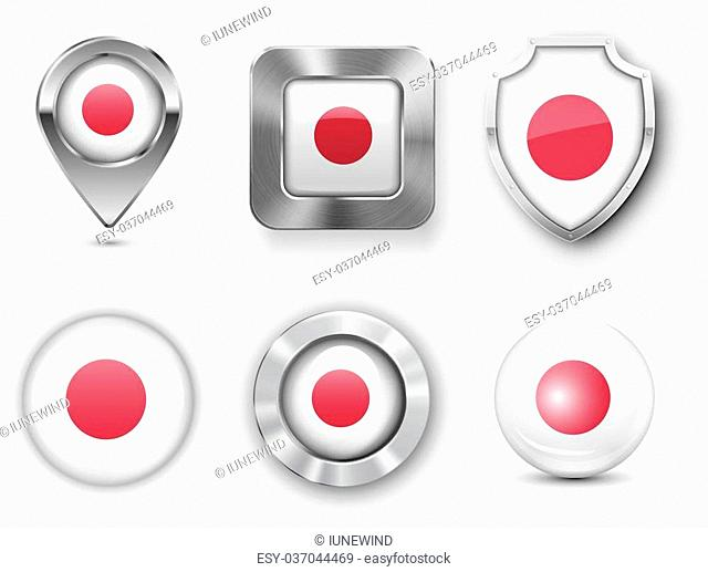 Japan Metal and Glass Flag Badges, Buttons, Map marker pin and Shields. Vector illustrations